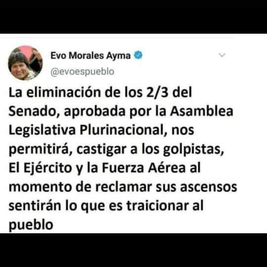 Evo Morales no afirmó que la eliminación de los 2/3 es para «castigar a los golpistas» y las FFAA