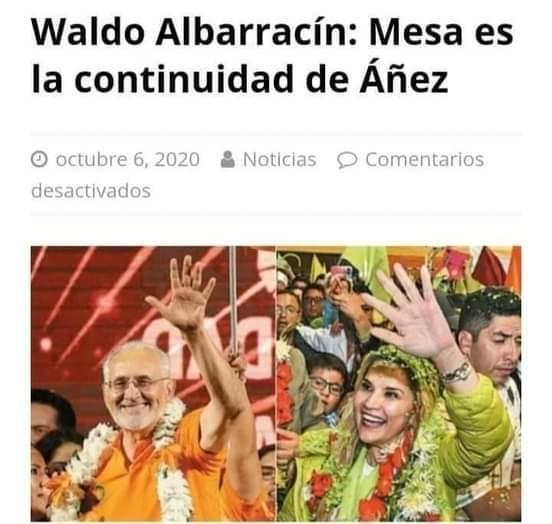 Waldo Albarracín no declaró que Carlos Mesa sea la continuidad de Jeanine Áñez