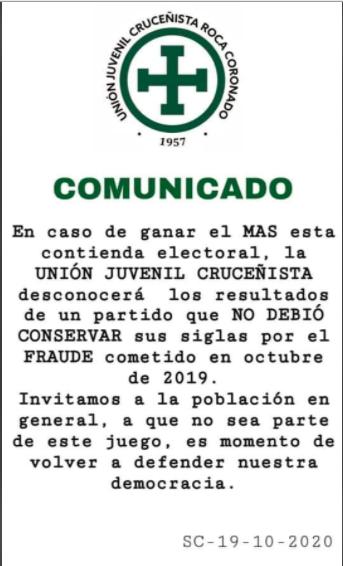 Circula un comunicado falso de la Unión Juvenil Cruceñista