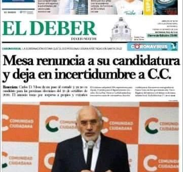 Carlos Mesa no renunció a su candidatura