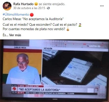 Con imagen de 2019 afirman que Carlos Mesa no acepta auditoría a las elecciones
