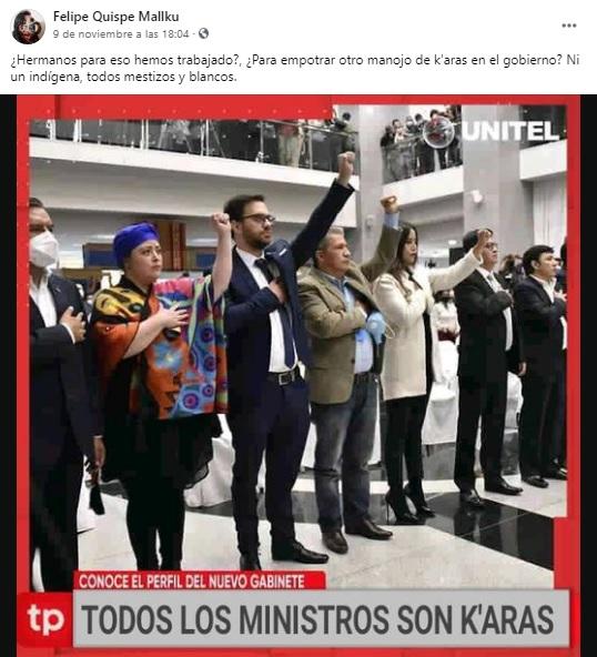 Falso, el 'Mallku' no cuestionó el origen étnico de los nuevos ministros