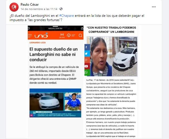 Leonardo Loza no es dueño de un vehículo Lamborghini