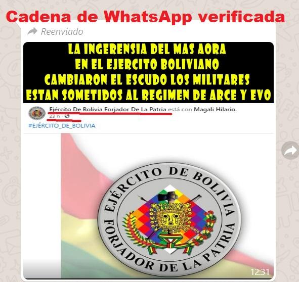 Falso: El nuevo gobierno no hizo cambios en el escudo del Ejército de Bolivia