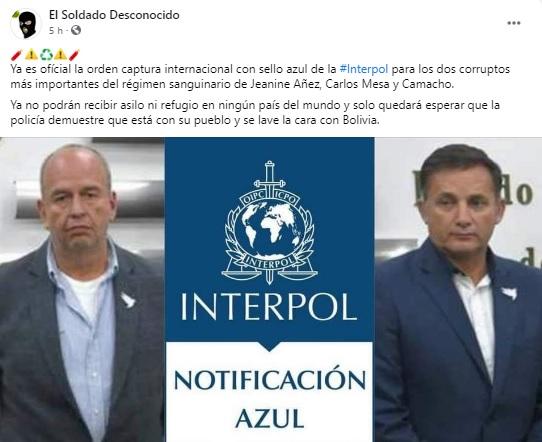 Murillo y López no tienen la notificación azul de Interpol