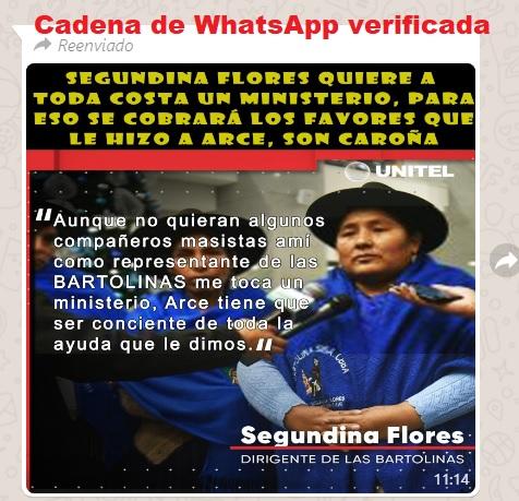 Segundina Flores no dijo que le corresponde un ministerio por ayudar a Luis Arce