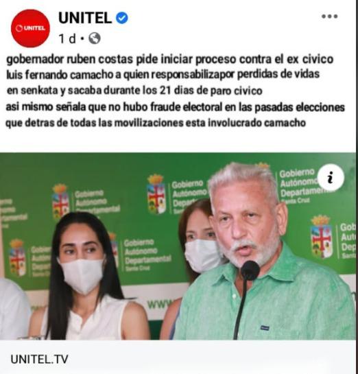 No es verdad que el gobernador Rubén Costas pidió enjuiciar a Luis Fernando Camacho