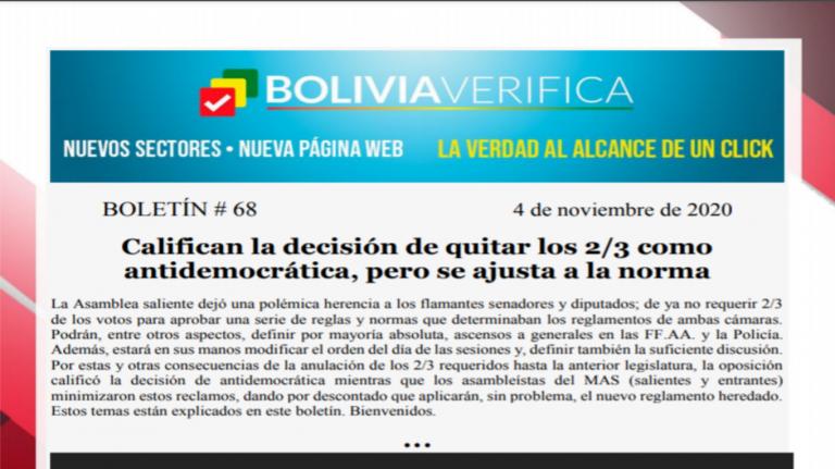 Boletín 68 – Califican la decisión de quitar los 2/3 como antidemocrática, pero se ajusta a la norma – 2020