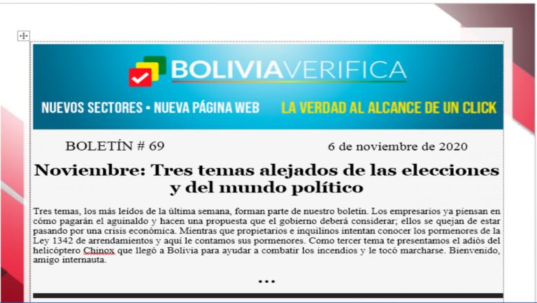 Boletín 69 – Noviembre: Tres temas alejados de las elecciones y del mundo político – 2020