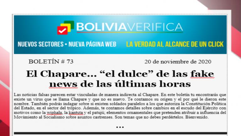 """Boletín 73 – El Chapare… """"el dulce"""" de las fake news de las últimas horas – 2020"""