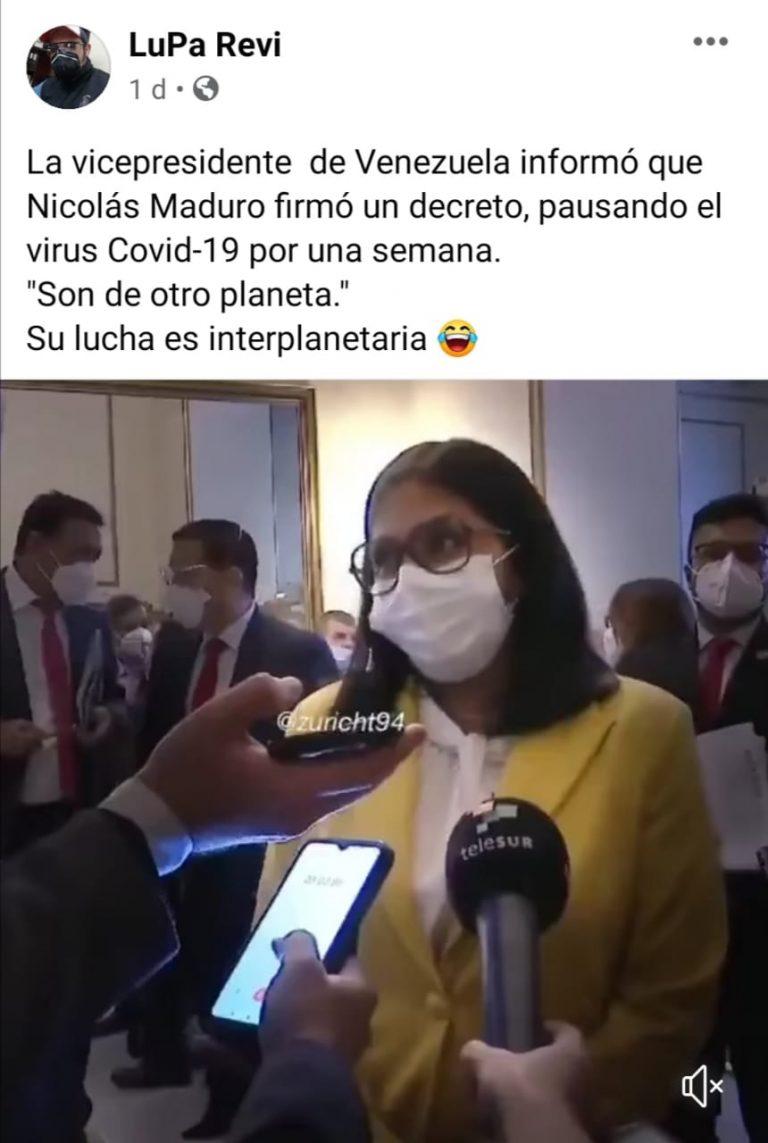 """Vicepresidenta de Venezuela no dijo que el virus será pausado en ese país por un """"convenio"""""""