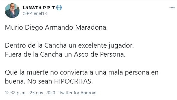 Ni sobre Maradona ni sobre Bolivia: tuits que se atribuyen a Jorge Lanata son falsos