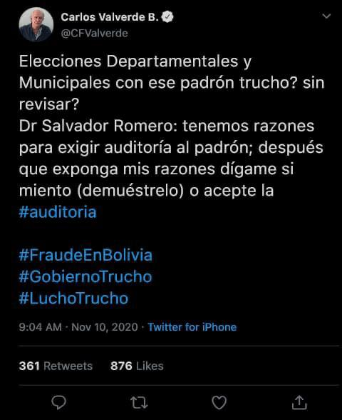 Carlos Valverde no catalogó de 'Trucho' al gobierno ni al padrón electoral