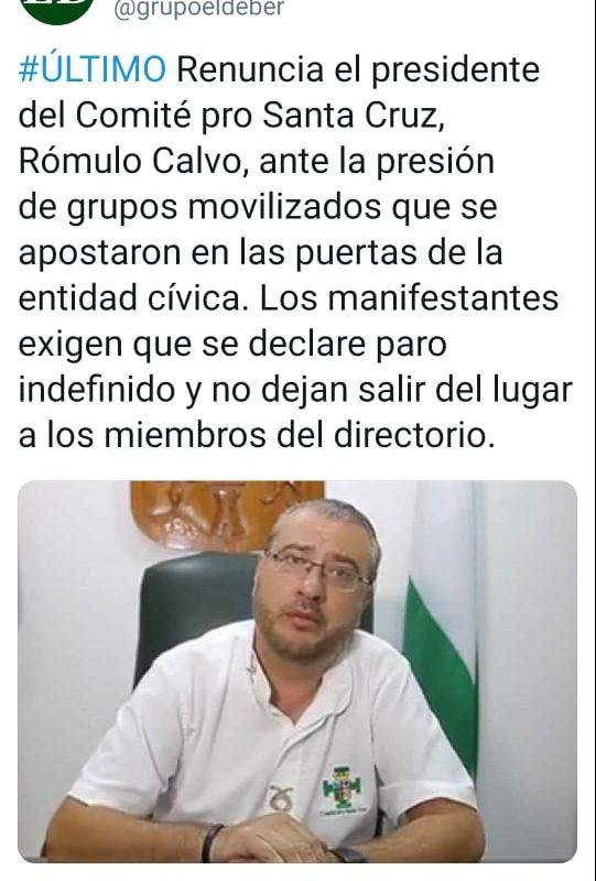 Rómulo Calvo no renunció a la presidencia del Comité Pro Santa Cruz