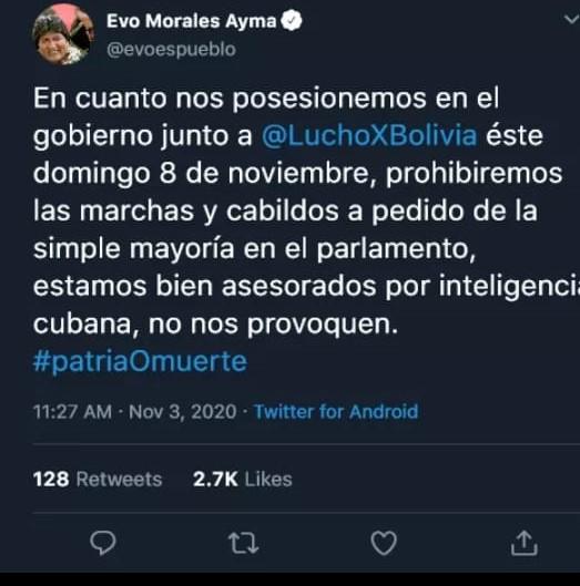 Evo Morales no tuiteó que prohibirán las marchas y cabildos