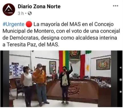 Falso, concejal demócrata de Montero no votó por la asunción de alcaldesa masista