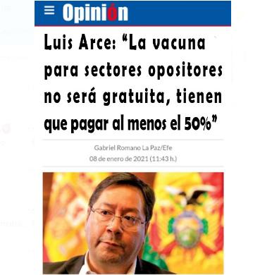 Arce no dijo que un sector tendrá que pagar el 50% del costo de la vacuna contra la COVID-19
