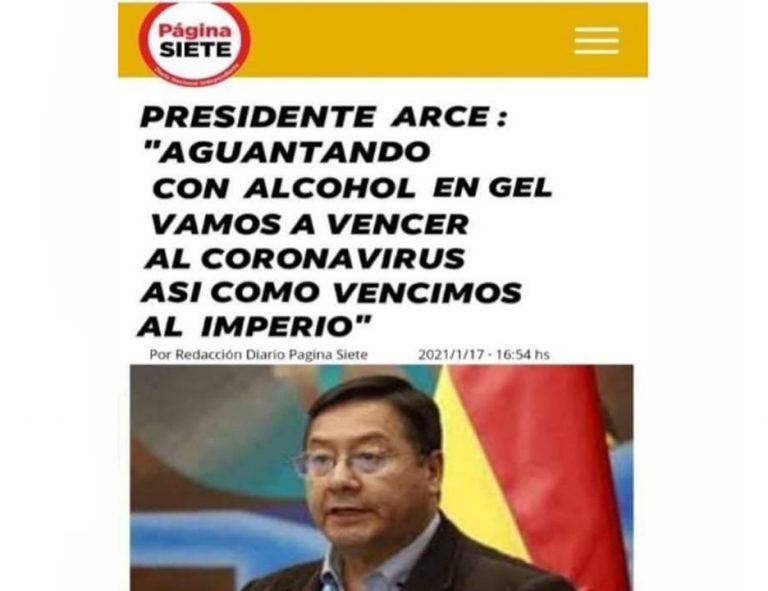 """Arce no dijo que """"aguantando con alcohol en gel"""" venceremos al coronavirus"""