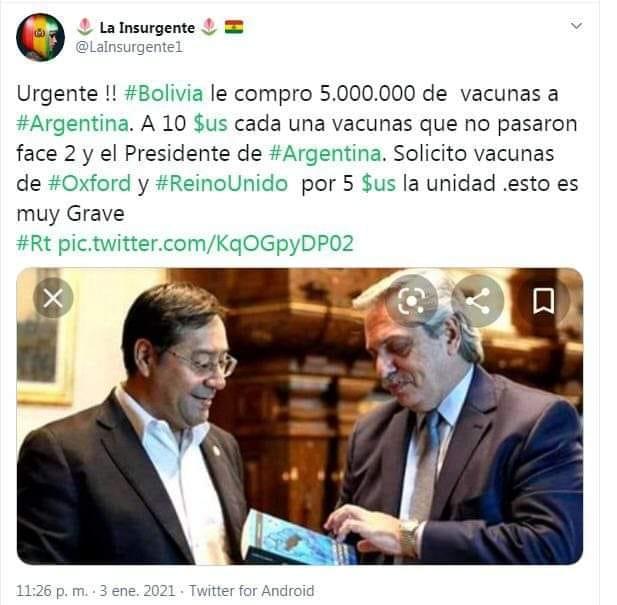 No es verdad que Bolivia compró vacunas a Argentina