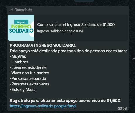 """El """"Programa Ingreso Solidario"""" pretende estafar a los usuarios de redes sociales"""