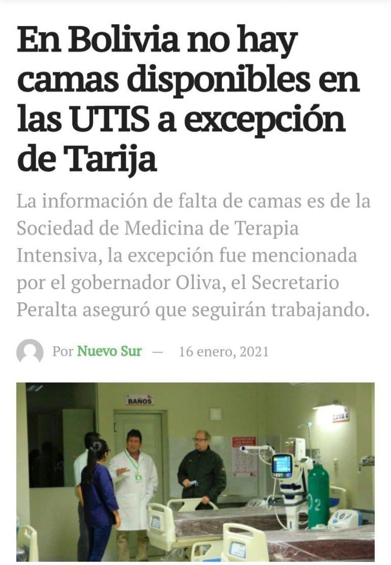 Tarija cuenta con camas disponibles en terapia intensiva, pero llegó al tope en intermedia