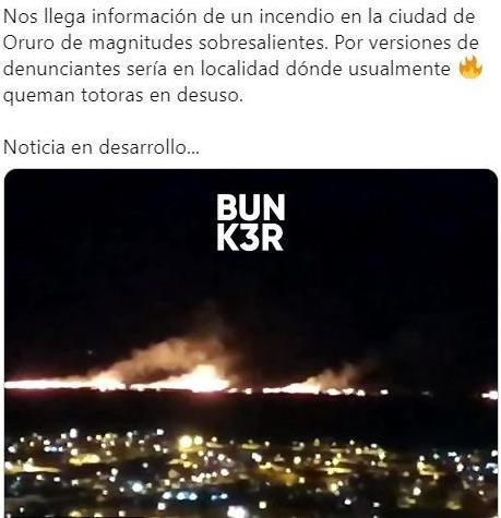 El 2 de enero hubo un incendio en cercanías de la ciudad de Oruro pero no fue de gravedad