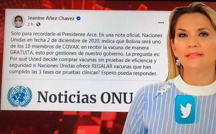 La ONU no publicó información sobre un post de Jeanine Áñez