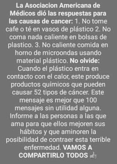 Calentar la comida en recipientes de plástico no causa «52 tipos de cáncer»