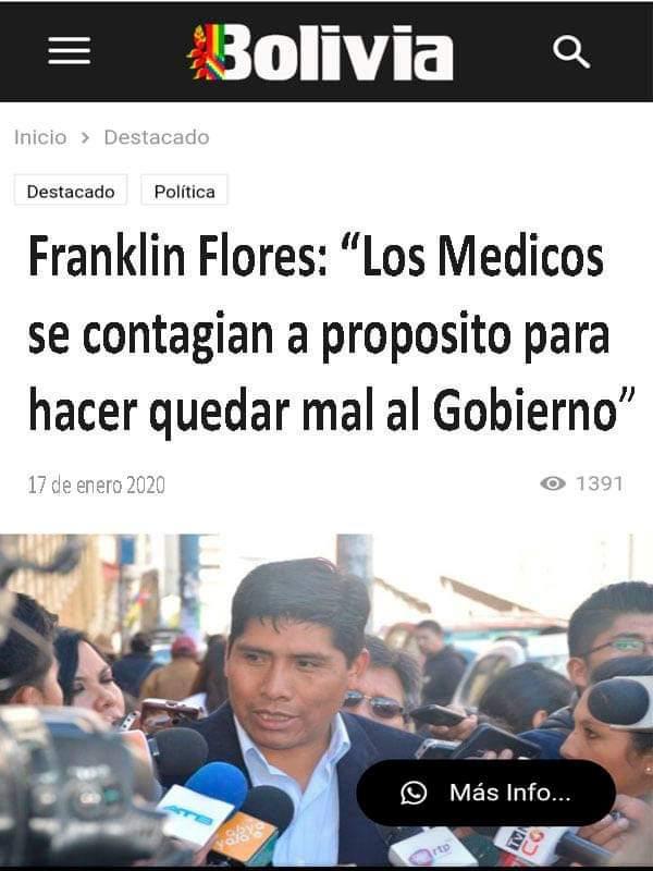 Franklin Flores no afirmó que los médicos «se contagian a propósito»
