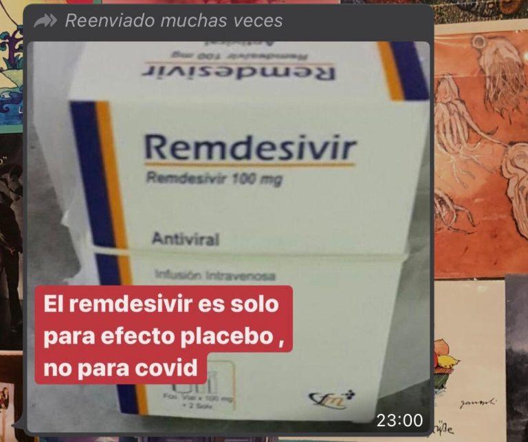 Es falso que el Remdesivir es un placebo, es un retroviral usado en pacientes con Covid-19 moderado