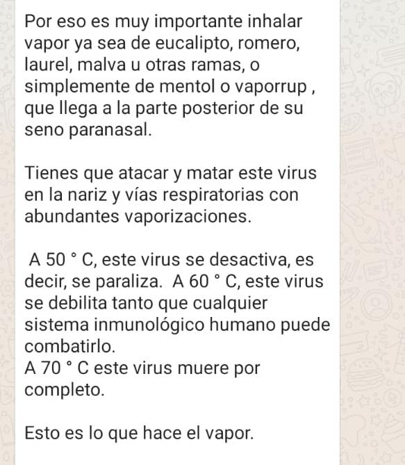 Ni inhalar vapor ni tomar té de hierbas elimina el coronavirus como señala una cadena de WhatsApp