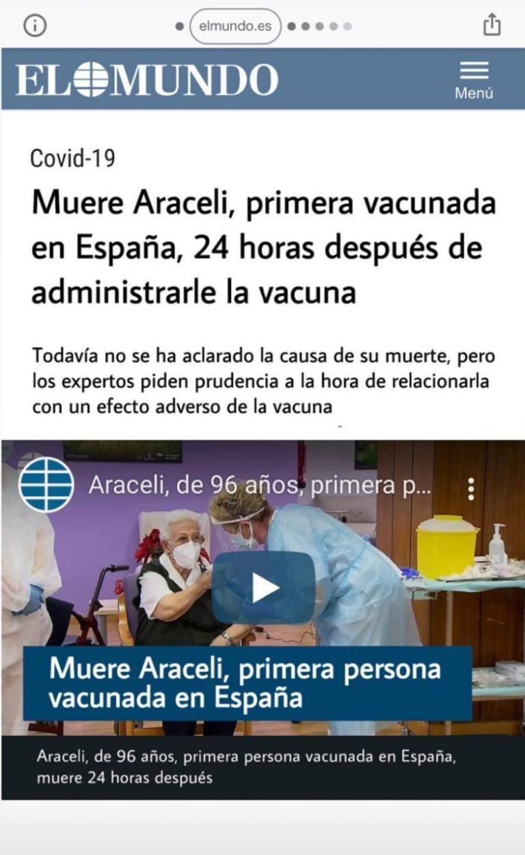 No es cierto que la primera vacunada en España falleció 24 horas después de la dosis