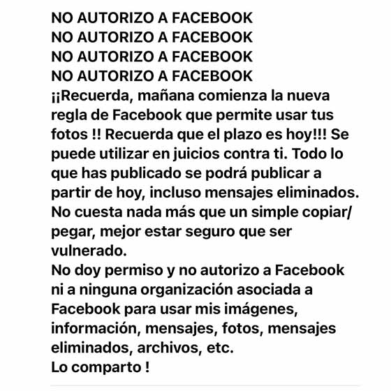 """No autorizo a Facebook"", una cadena virtual que engañó a miles de usuarios"