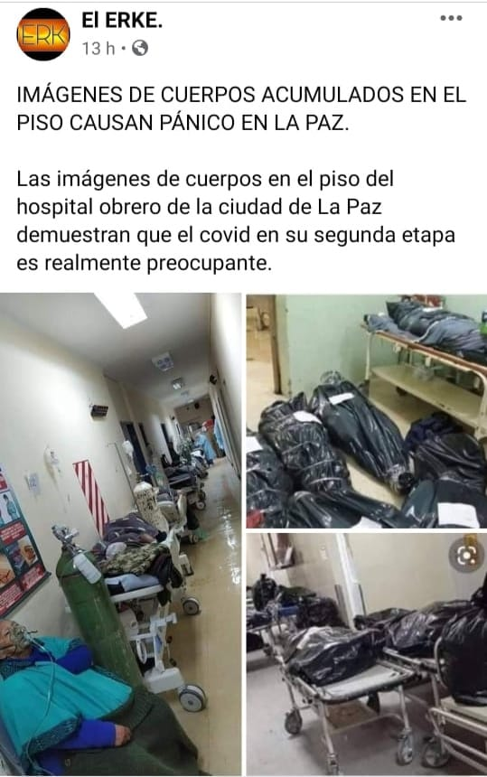 Fotografías de cadáveres en pasillos de hospitales no fueron tomadas en La Paz, sino en Perú