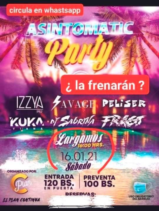 'Asintomatic Party': Pese a restricciones por la pandemia, se organiza una fiesta pública en el Urubó