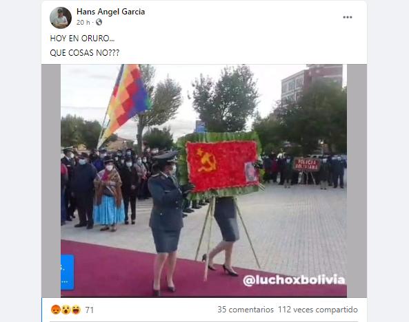 Verdadero: Se entregó una ofrenda floral con la bandera de la Unión Soviética en Oruro