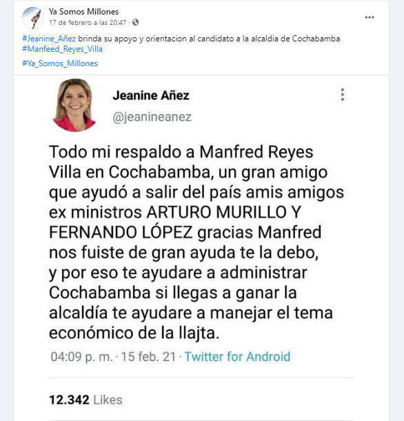 Jeanine Áñez no dijo que Reyes Villa ayudó a salir del país a López y a Murillo