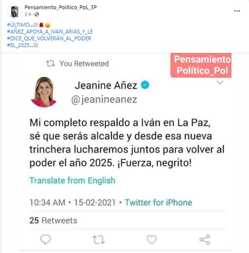 Falsifican un tuit de Jeanine Áñez para indicar que respalda a Iván Arias
