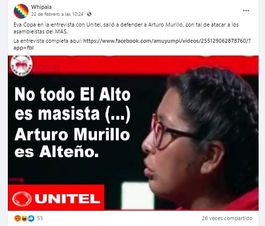 Eva Copa no dijo que Arturo Murillo es alteño ni lo defendió