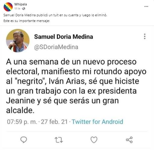 El tuit en el que Samuel Doria Medina brinda su apoyo a Iván Arias es falso