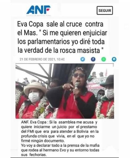 Manipulan un titular de ANF para atribuir declaraciones falsas a Eva Copa