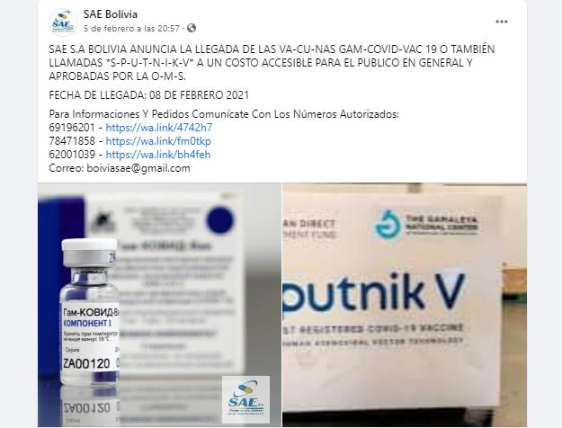 La farmacéutica SAE S.A. no está vendiendo vacunas contra la Covid-19. ¡Cuidado, es una estafa!