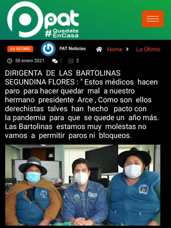 Segundina Flores rechaza publicación que enfrenta a médicos con el presidente Luis Arce