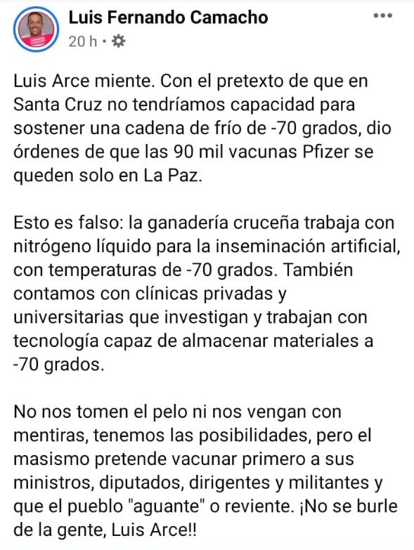 Verdadero: Santa Cruz sí tiene la capacidad para almacenar las vacunas Pfizer a -70 ºC