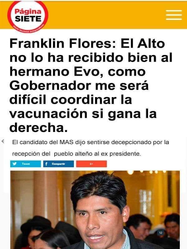 Franklin Flores no se refirió al recibimiento que tuvo Evo Morales en El Alto
