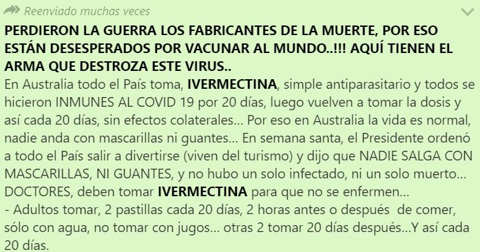 Circula falsa cadena de WhatsApp sobre el supuesto uso de ivermectina en Australia