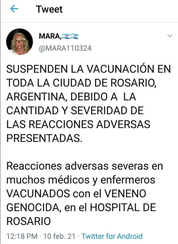 Es falso que se suspendió la vacunación en una ciudad de Argentina