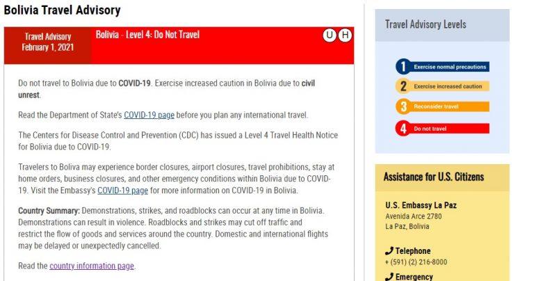 Verdadero: EEUU recomienda no viajar a Bolivia por COVID-19