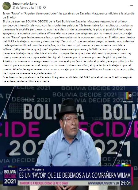 Zacarías Maquera no pidió que voten por el MAS porque le debe favores a Wilma Alanoca