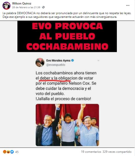 Evo Morales no tuiteó que es «una obligación» votar por Nelson Cox